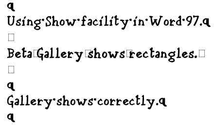 Samples of Beta Gallery and Gallery in Show mode in Word 97