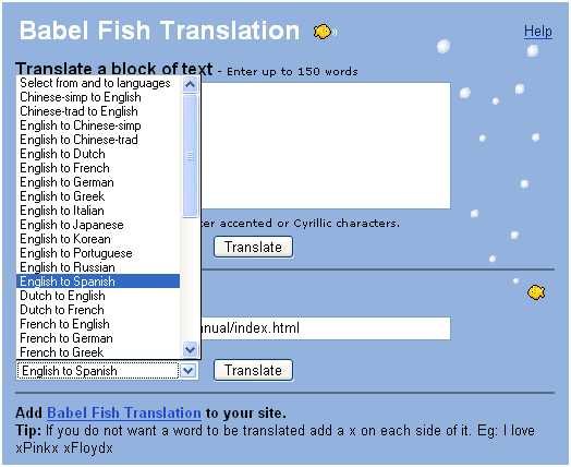 Online manual english spanish chinese font forum for Translate fish to spanish