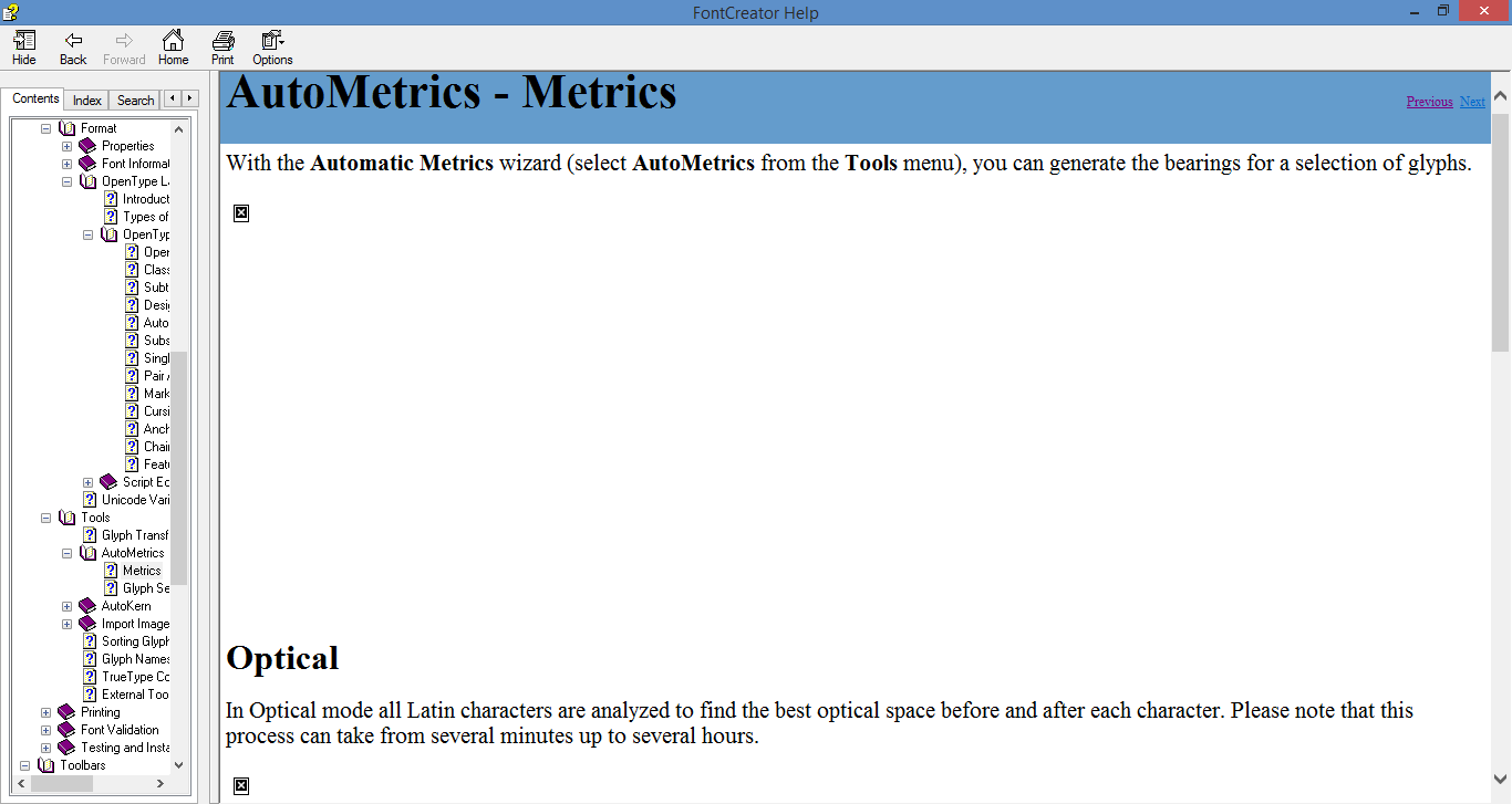 "Screenshot of ""AutoMetrics - Metrics"" help page, with two missing images apparent."